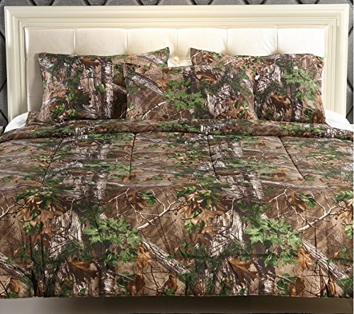 Realtree Xtra Green Micro Peach Super Soft Printed Comforter (Full/Queen) (Peach And Comforter Green)