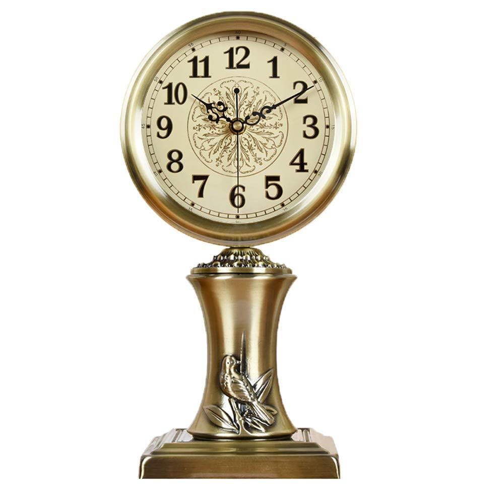 LPYMX Uhr, Wohnzimmer Schlafzimmer Europäische Metall Tischuhr Ornamente (Stil   B)