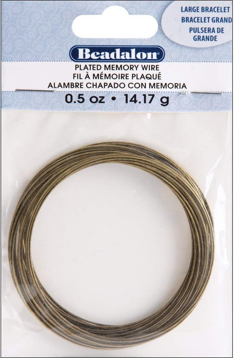 Memory Wire Large Bracelet .62mm .35oz-Antique Brass 30 Coils
