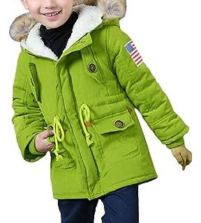 Shengdilu Unisex Kids Down Puffer Jacket Parka Fur Outwear Outfit Long Coat Detachable Hood