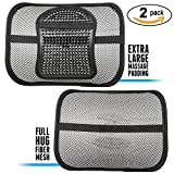 ErgoMaax Bundle - TWO (2) PACK Fiber Mesh Lumbar Support Cushions (Upgraded Version) -- Ergonomic Extra Large Massage Padding Cushion + Full Hug Mesh Cushion -- for Any Car Seat and Office Chair