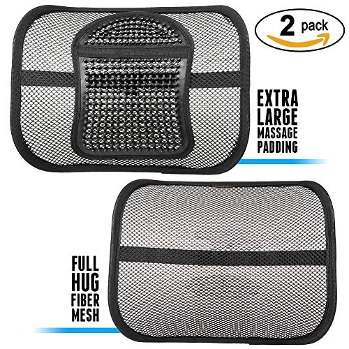ErgoMaax Bundle - TWO (2) PACK Fiber Mesh Lumbar Support Cushions (Upgraded Version) -- Ergonomic Extra Large Massage Padding Cushion + Full Hug Mesh Cushion -- for Any Car Seat and Office Chair by ErgoMaax