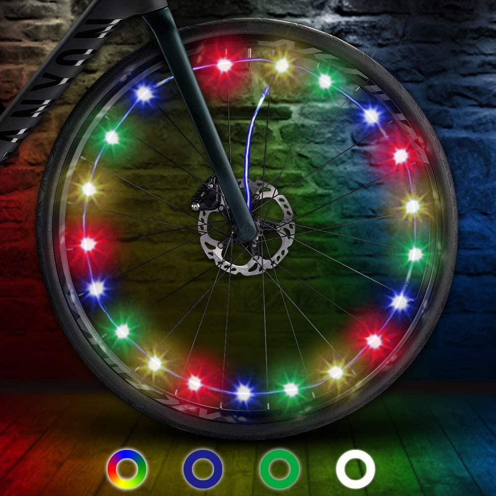 TIPEYE LED Bike Wheel Lights (1 Pack) IP65 Waterproof with Batteries Included Easy to Install Burning Man Bike Spoke Decorations Visible from All Angles for Ultimate Safety and Kids