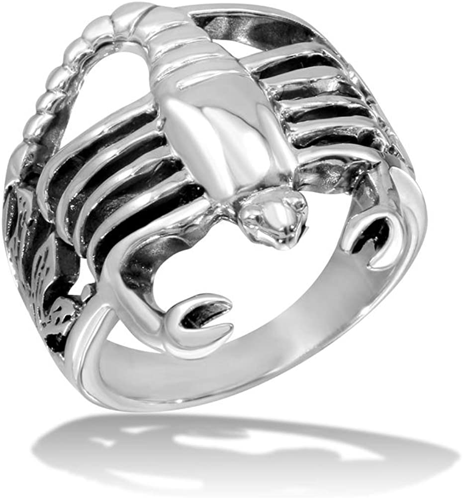 Scorpion Design High Polished Sterling Silver Ring