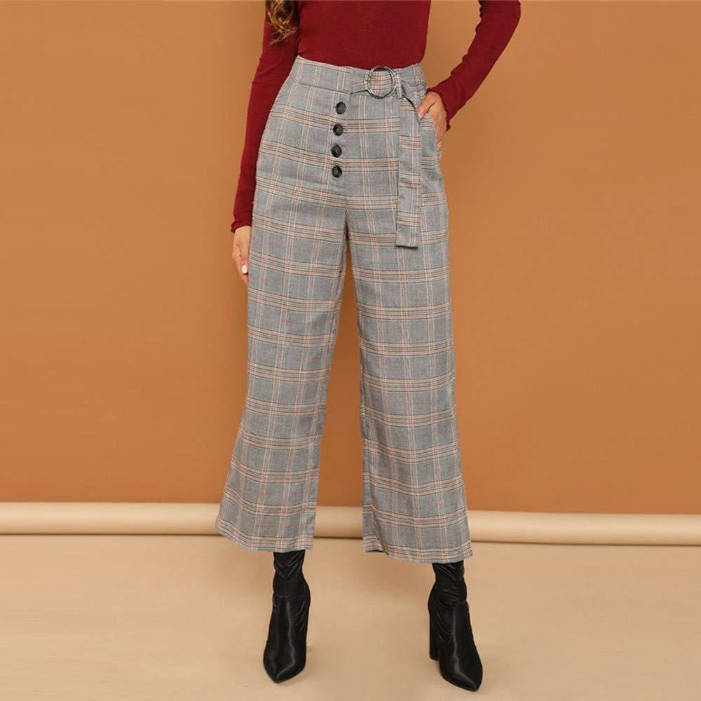 0c705e383bb5 AKDYH Pantaloni da Donna Pantaloni da Uomo in Tessuto Scozzese con Tasche  Laterali Pantaloni da Uomo ...