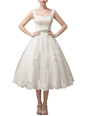 JAEDEN Vestido de Novia Encaje Vestido de Novia Vintage Corto ...