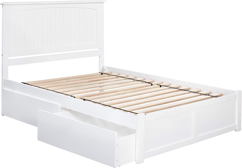 Atlantic Furniture Nantucket Platform 2 Urban Bed Drawers, King, White
