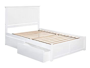 size 40 2321d cd747 Atlantic Furniture AR8242112 Nantucket Platform Bed with 2 Urban Bed  Drawers, Queen, White