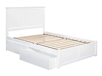 Atlantic Furniture Ar8242112 Nantucket Platform Bed With 2 Urban Bed Drawers Queen White