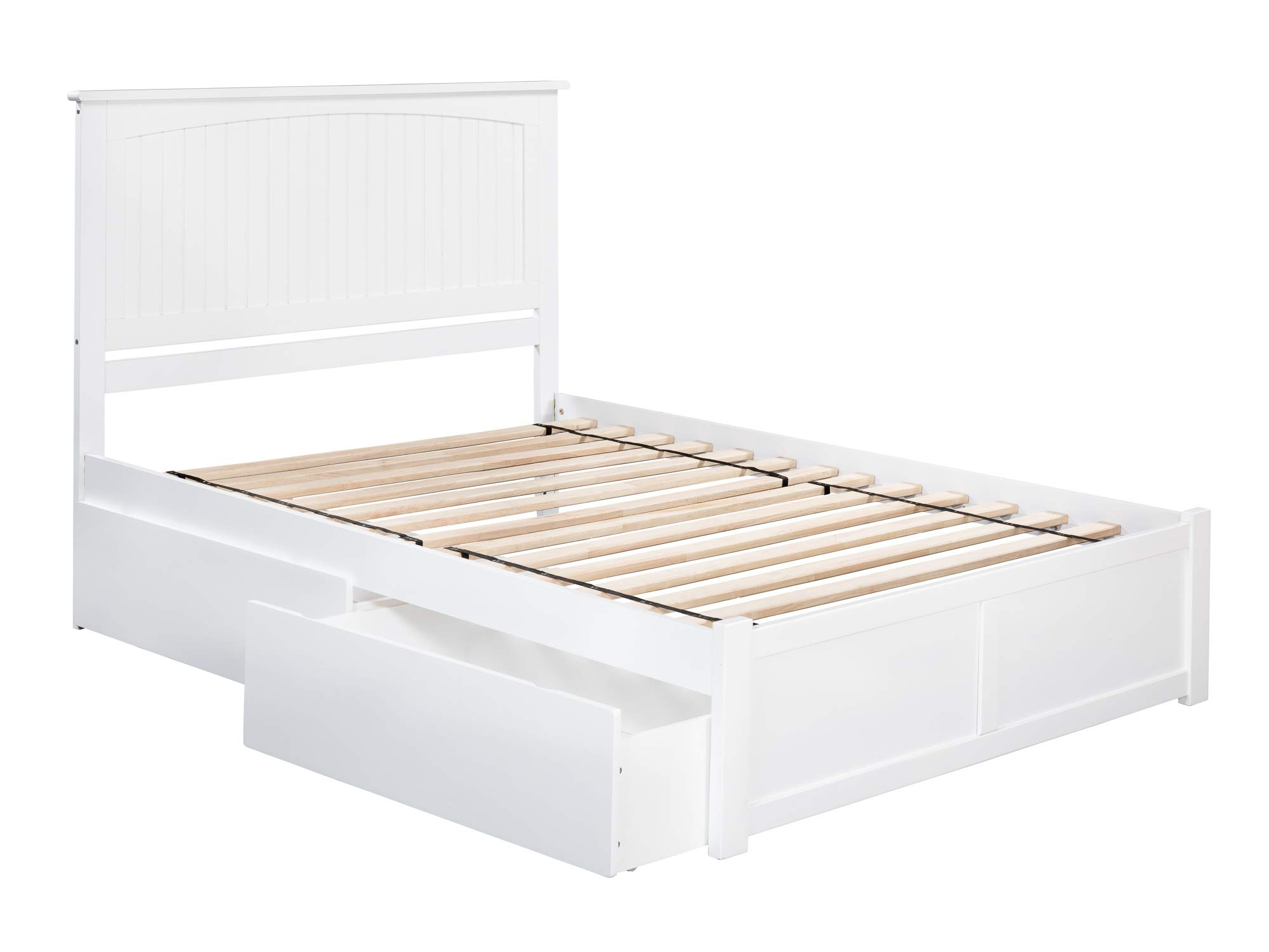 Atlantic Furniture AR8232112 Nantucket Platform Bed with 2 Urban Bed Drawers, Full, White