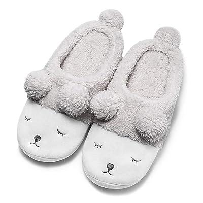Amazon.com | GaraTia Cute Animal Slippers for Women Fleece Plush Bedroom Winter Slippers Open Back | Slippers