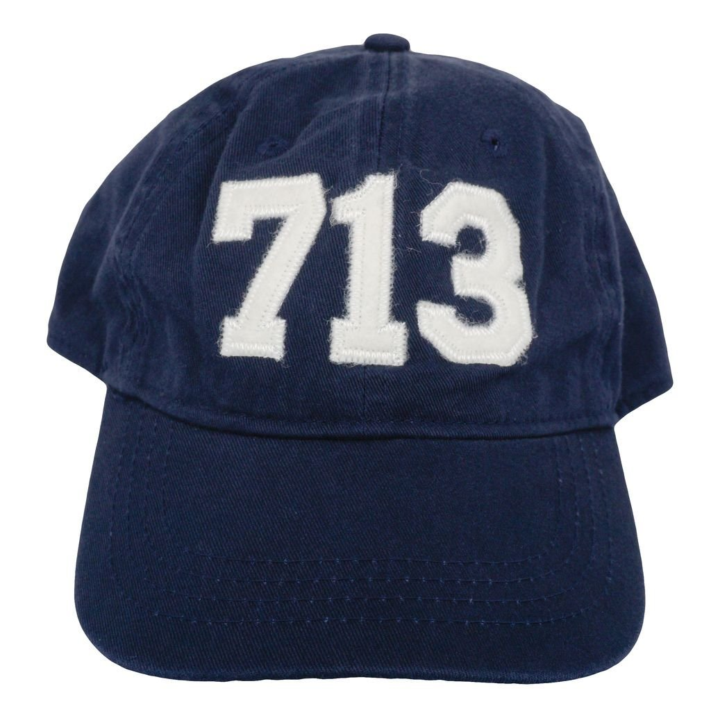 Cotton Adjustabe Fit Cap | Unconstructed | Low Profile 713 Houston Area Code Felt Logo Hat Navy