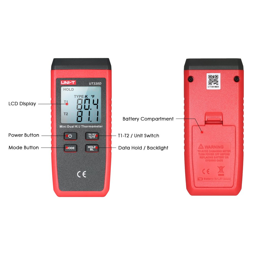 UNI-T UT320D Mini LCD Digital Thermometer 2-Channel Type K/J Thermocouple Sensor -50~1300°C/-58~2372°F Data Hold Function by UNI-T (Image #7)