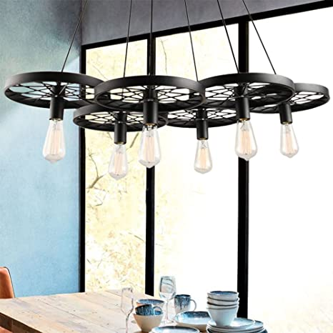 Beau PROMO LINSGROUP 6 Light Wagon Wheel Chandelier Vintage Industrial Metal  Retro Rustic Ceiling Hanging Pendant
