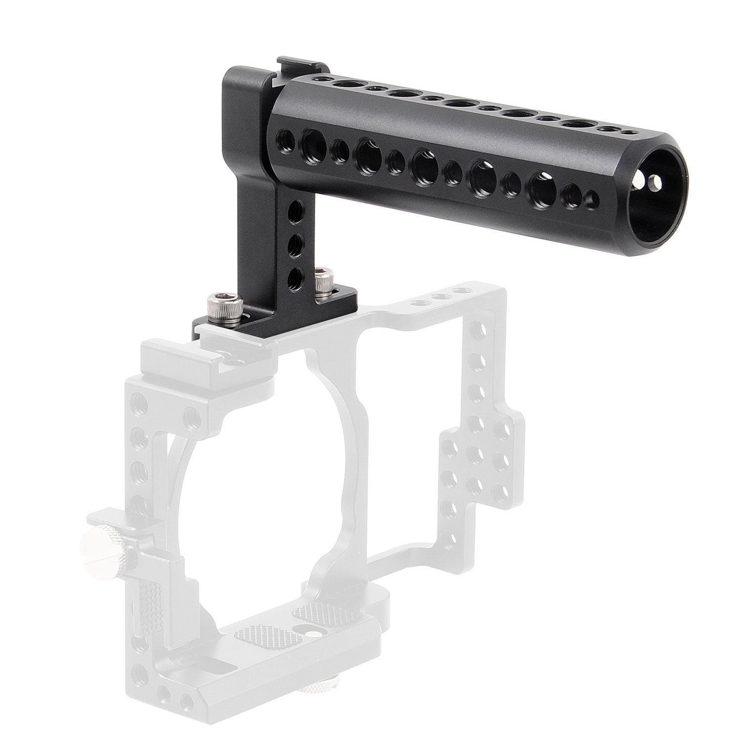 Camera Top Handle,FOTYRIG camera Cheese Handle Grip with Cold Shoe and 1/4'' 3/8'' Thread Mount for Digital Dslr Monitor, LED Light, Microphone, Magic Arm