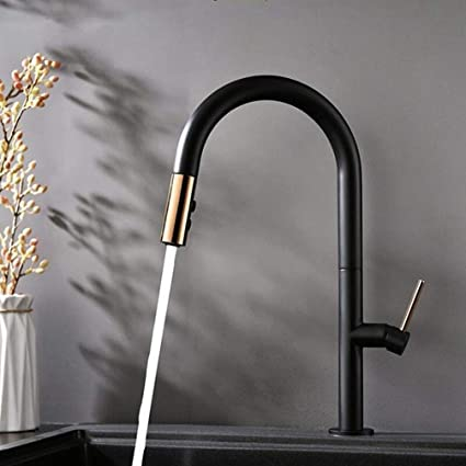 FZHLR Pull Out Kitchen Faucet Rose Gold And Black/White Sink ...