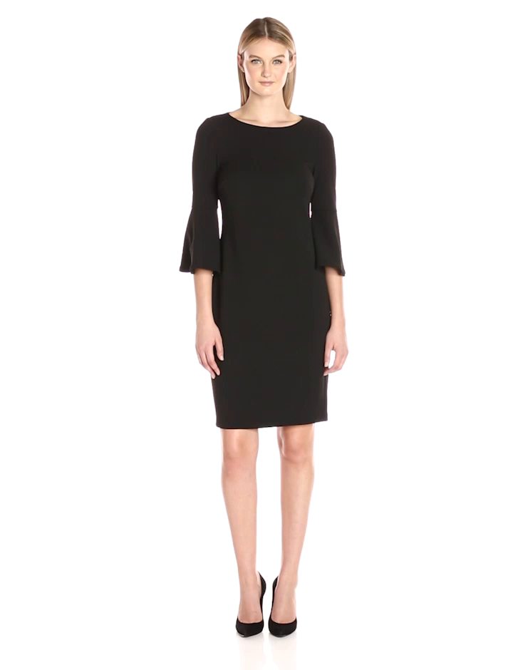 Calvin Klein Women S 3 4 Peplum Sleeve Sheath Dress At Amazon