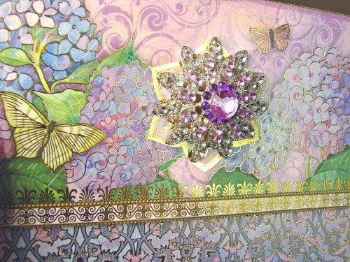 (#66914 Punch Studio Boutique Brooch Note Card Set Lavender Hydrangea Keepsake Pouch)