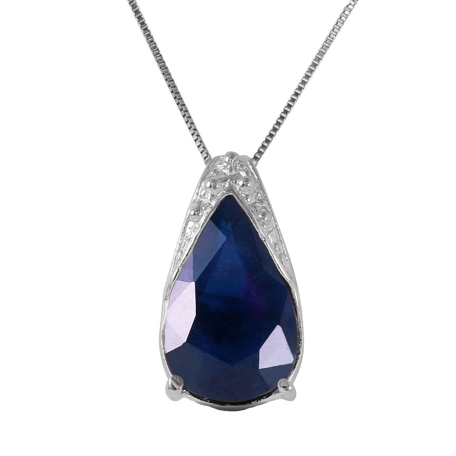 Galaxy Gold 14k 14'' Solid White Gold Necklace 4.65 Carat Natural Sapphire Pendan