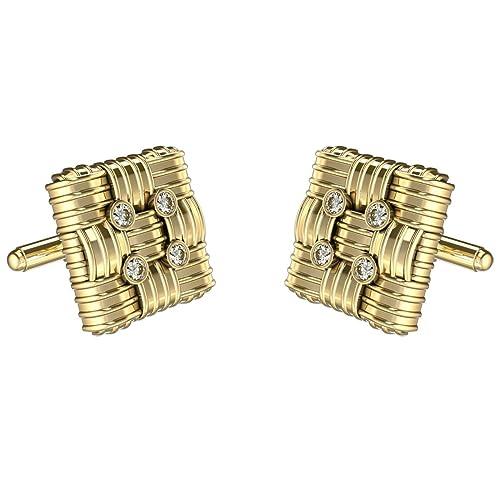 Amazon.com: Oro amarillo con diamante Gemelos para hombre en ...