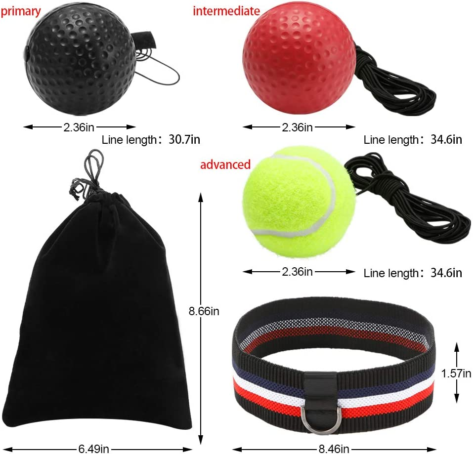 and Women Timing Adults Great for Reflex Men Accuracy GEYUEYA Home Boxing Reflex Ball Set 3 Difficulty Level Training Balls On String Focus and Hand-Eye Coordination Training for Kids