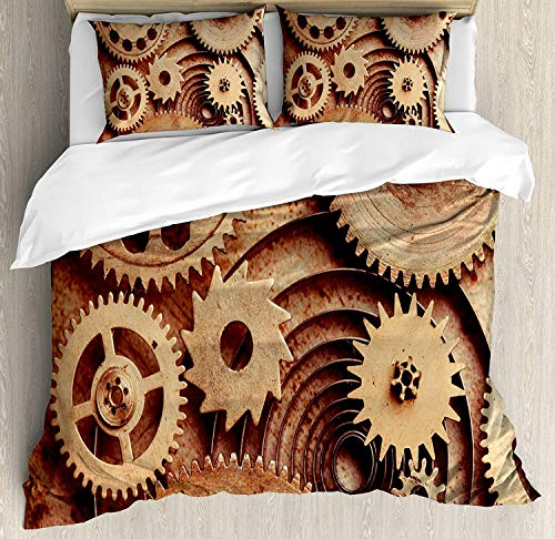 BABE MAPS Bedding Set 3pc Duvet Cover Set Full Size Inside The Clocks Theme Gears Mechanical Device Image in Steampunk Style Print Comforter Quilt Cover Sets with 2 Pillow Shams, Industrial]()