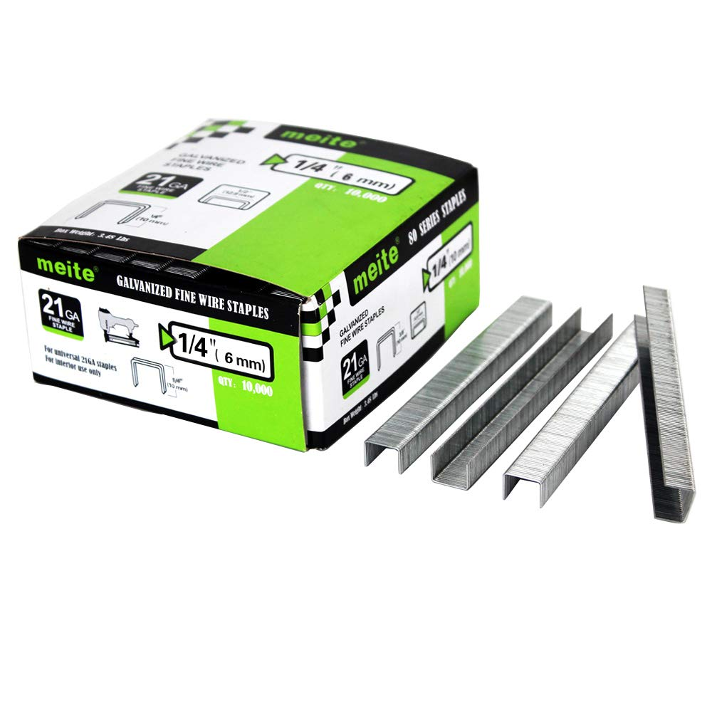 meite 21G80S14 21 Gauge 80 Series 1/2-Inch Crown 1/4-InchLeg Upholstery Staples Fine Wire Staples (10,000 PCS/box)