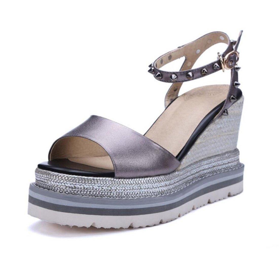 ZXMXY Damenschuhe Sommer Sandalen Keilabsatz Sandalen Nieten Super High Heels Outdoor Fashion Schuhe Sandalen im Freien