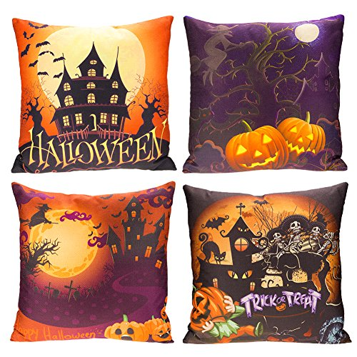 Happy Halloween Throw Pillow Case 4 Pack Square Decorative Cushion Cover 18x18 Inches Bat Pumpkin Witch (Halloween Pillows Decorations)