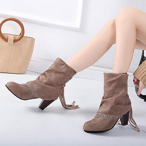 ... Pelaje Botas Zapatos de tacón Alto Casuales Atractivos de la Moda del Remiendo del cordón del cordón abrochados Botines: Amazon.es: Ropa y accesorios
