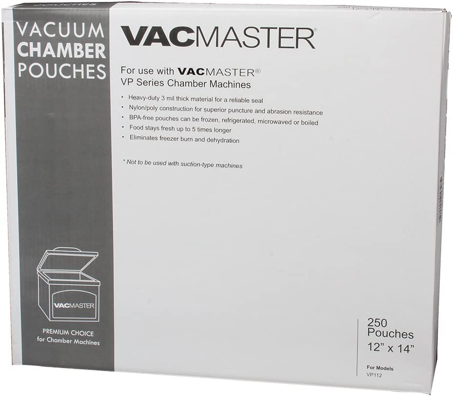 VacMaster 40728 3-Mil Vacuum Chamber Pouches, 12-Inch by 14-Inch, 250 per Box