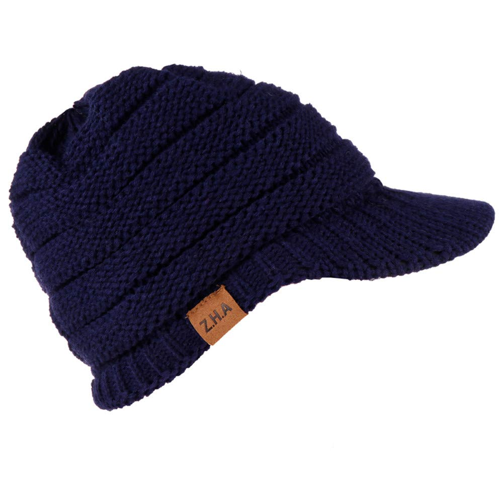 Yiqianzhaobiao_hat Hat Women's Ribbed Knit Hat with Brim Adult Women Men Winter Crochet Hat Knit Hat Warm Baseball Cap