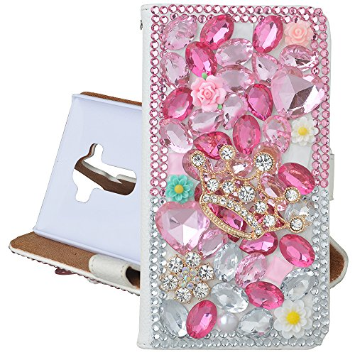 (Spritech(TM) PU Leather Bling Phone Case For ZTE ZMAX Z970,Handmade Rose Pink Crystal Gold Crown Accessary Design Cellphone Cover With Card Slots)
