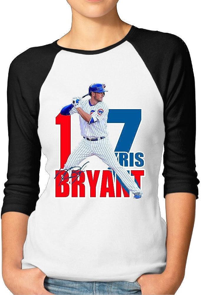 PCY Funny Women Tee Women's Vintage Kris Chicago Bryant Baseball 3/4 Sleeve T-Shirts Black