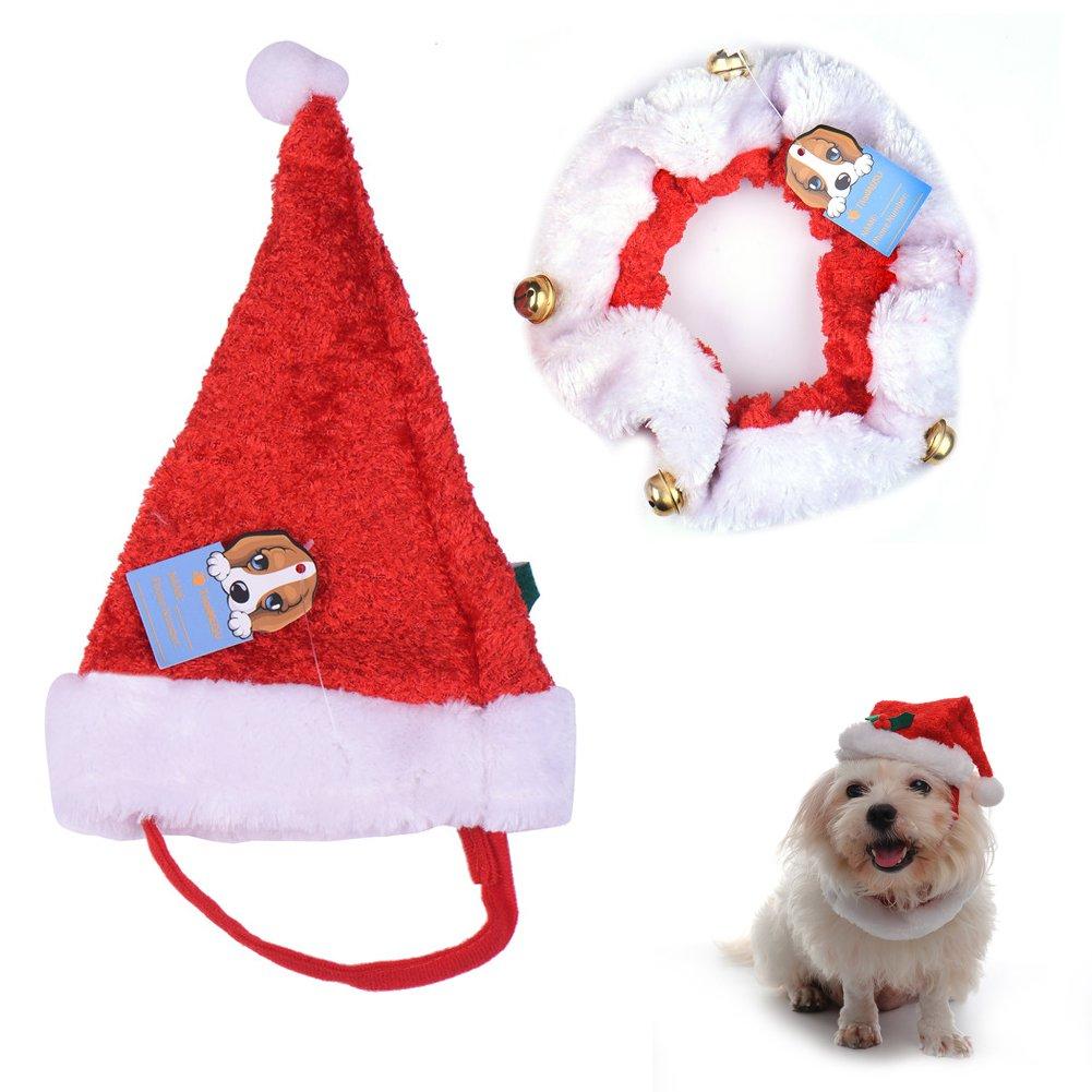 Chapeau Chien - Très joli petit Bonnet de Noël pour Chat ou petit Chien, circonférence du cou: 28cm Kaigeli