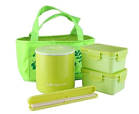 CENSUN - Recipiente para comida para niños y adultos, con 2 cajas pequeñas y bolsa