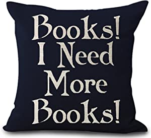 "Queen's designer Book Lover Reading Book Club Books I Need More Books Black Background Cotton Linen Decorative Throw Pillow Case Cushion Cover Square 18""X18"