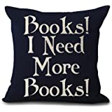 """Book Lover Reading Book Club Books I Need More Books Black Background Cotton Linen Decorative Throw Pillow Case Cushion Cover Square 18 """"X18 """""""