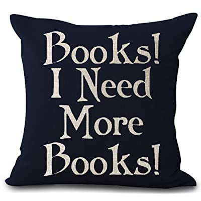 Book Lover Reading Book Club Books I Need More Books Black Background Cotton Linen Decorative Throw Pillow Case Cushion Cover Square 18 'X18 '