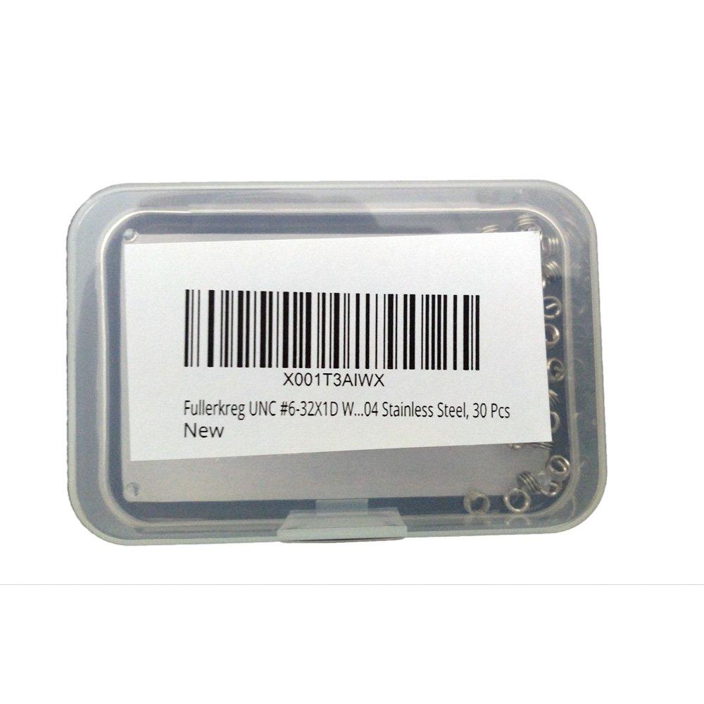 Fullerkreg UNC #6-32X1D Wire Thread Inserts,304 Stainless Steel 30 Pcs