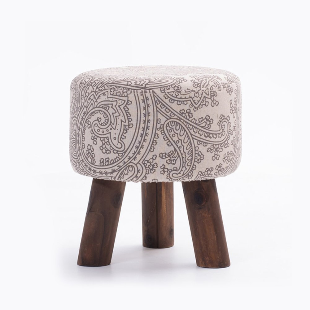 YQ WHJB Ottoman Footstool,Upholstered Footstool,Wood Legs Linen Fabric Cover Round Block Living Room Small Removable Change Shoe Bench-U