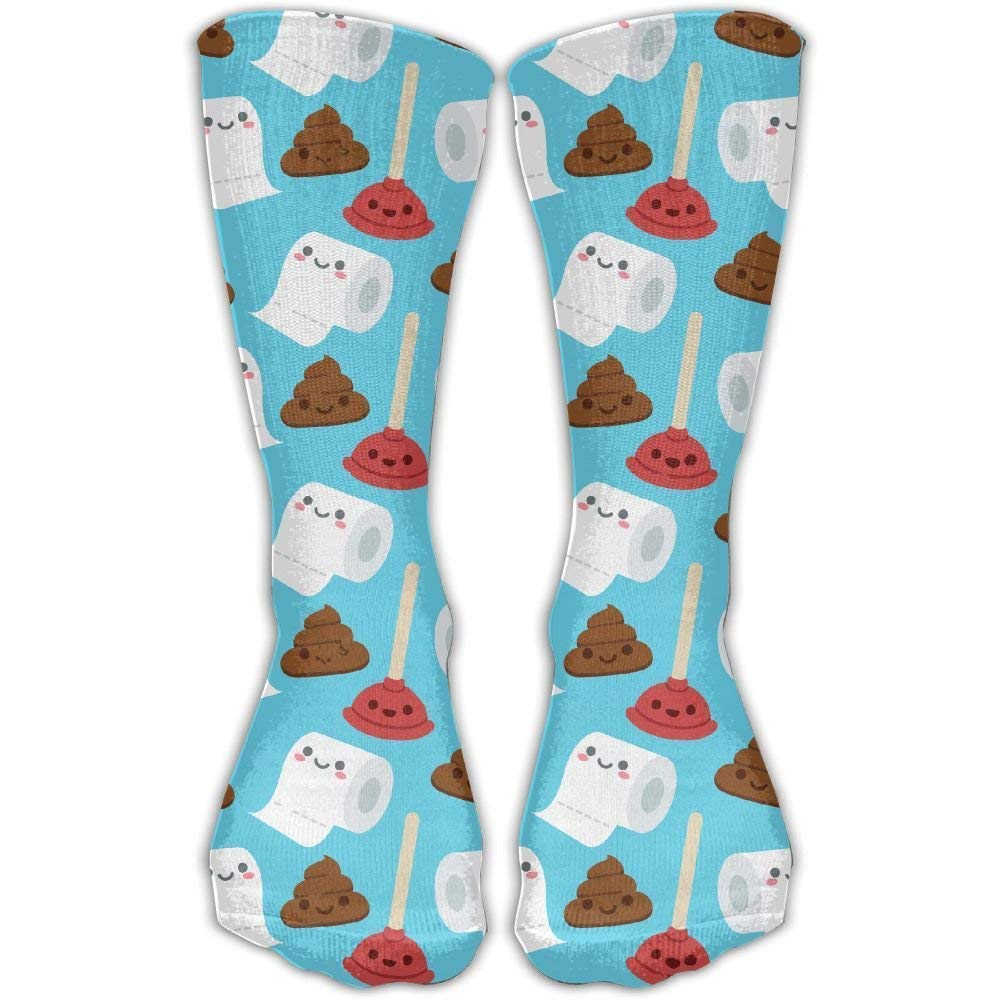 Bathroom Cute Faces Toilet Paper Poo Casual Running Long Socks Novelty High Athletic Sock Unisex