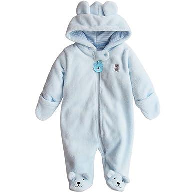 9c609dd7c279 Baby Boy Girl Bodysuit Hooded Fleece Romper Infant Warm Onesies 3-12M Blue  3-