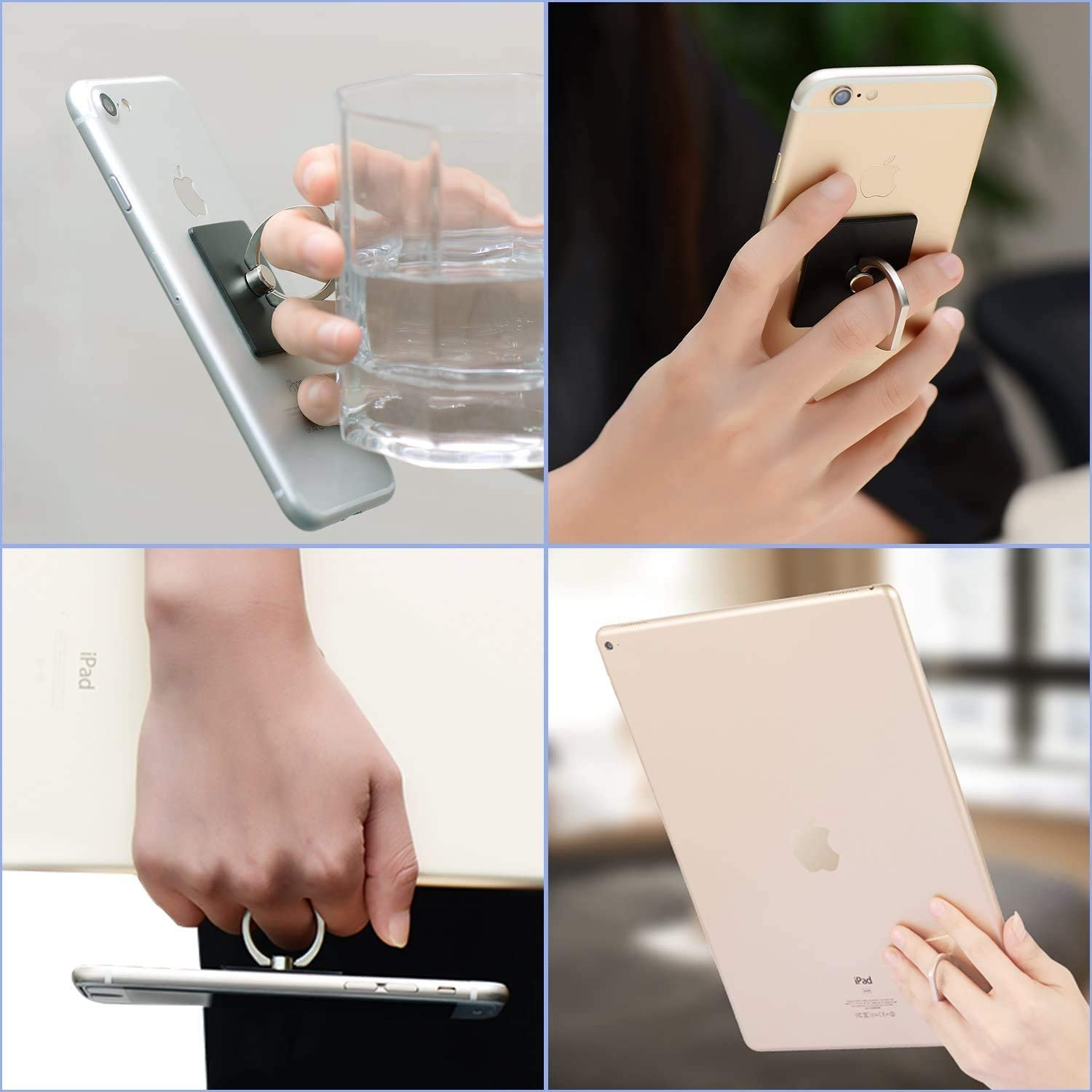 KEVEIUD Phone Ring Holder Silver 360/°Rotation Smartphone Kickstand Ring Grip Bracket for iphone XS X 8 7 6S 6 5S 5C 5 Cell Phone Finger Ring Holder Samsung Galaxy S9 S8 S7Edge S7 S6 Note 8 5