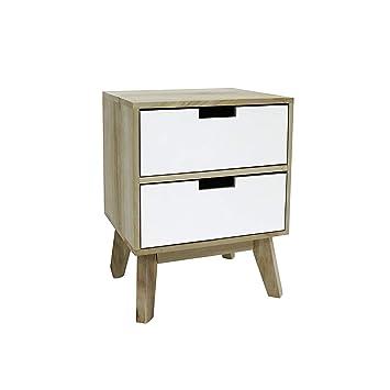 Rebecca Mobili Table De Chevet Style Scandinave Commode Pour Chambre D Enfant Salon 2 Tiroirs Marron Clair Blanc Dimensions 45 X 35 X 30 Hxlxl