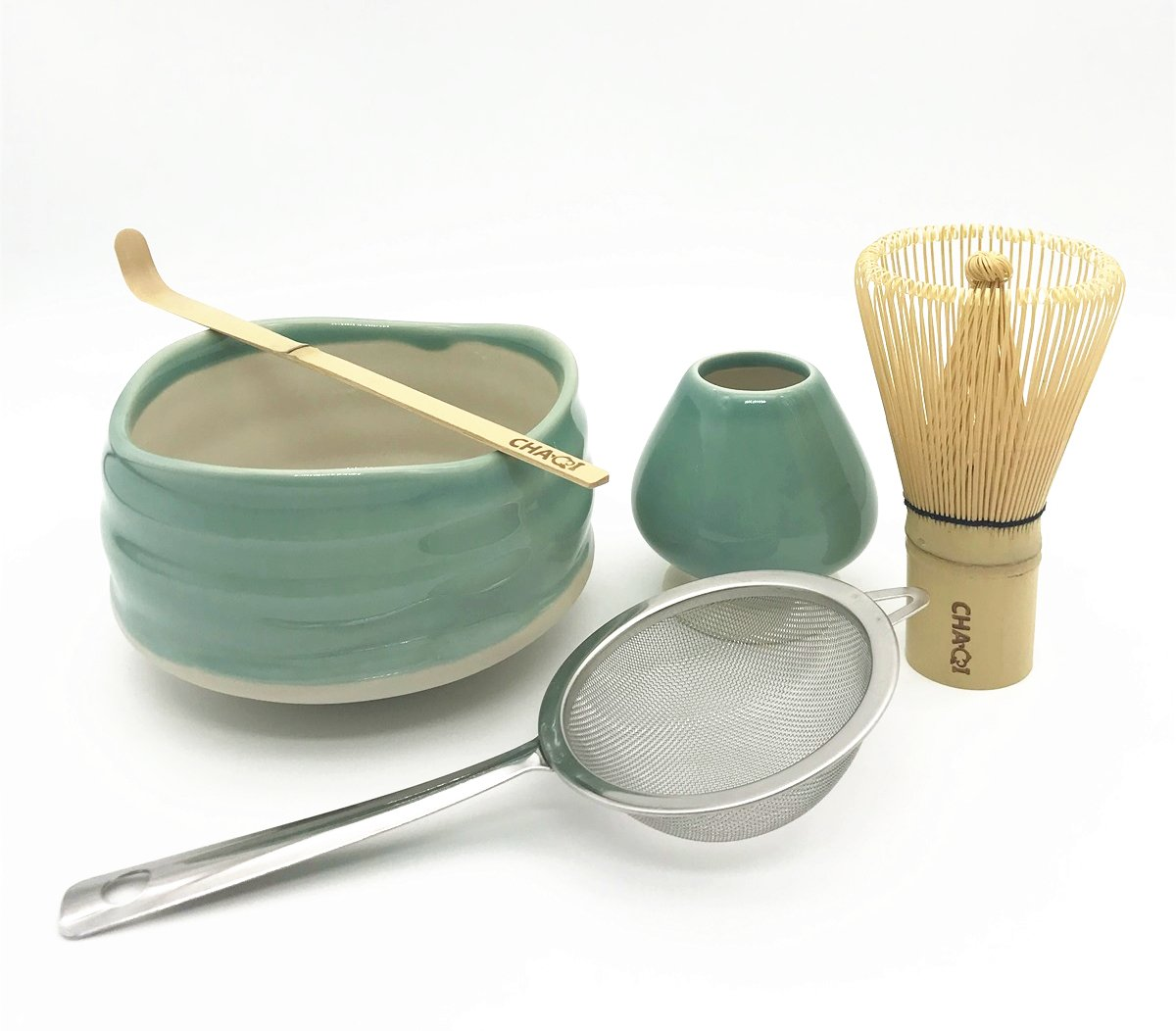 Home Soul Matcha Accessories Kit Include 5 items-100 Prongs Bamboo Whisk Chasen,Bamboo Scoop,Stainless Steel Tea Filter and Ceramic Matcha Bowl & Whisk Holder (Green)