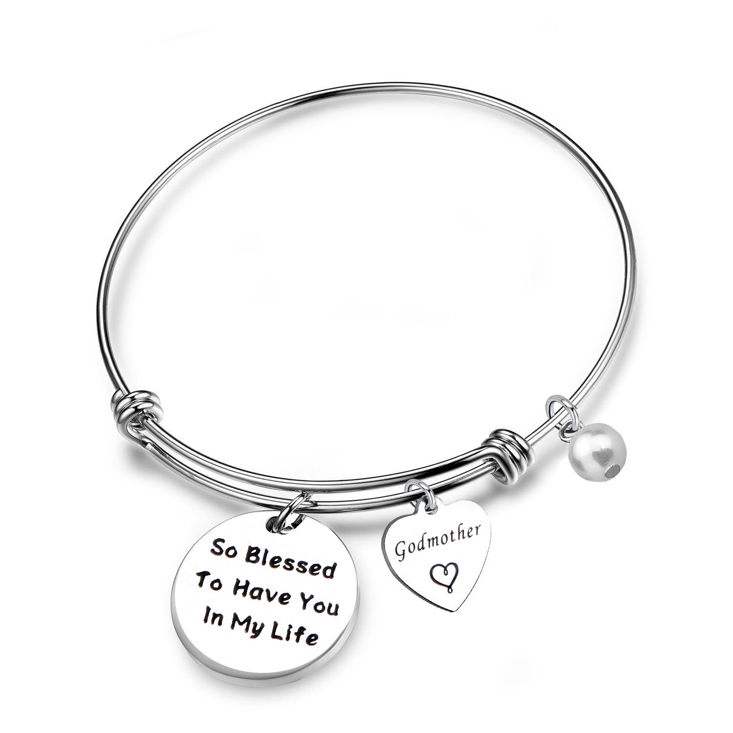RQIER Godmother Gifts Godmother Bracelet So Blessed to Have You in My Life Expandable Wire Bangle Religious Jewelry Baptism Gift(so Blessed.)