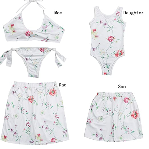 f749b22de4 Amazon.com: Father and Son Matching Swim Trunks, Mommy and me Monokini  Bikini Sets Family Bathing Suits Swimwear: Clothing