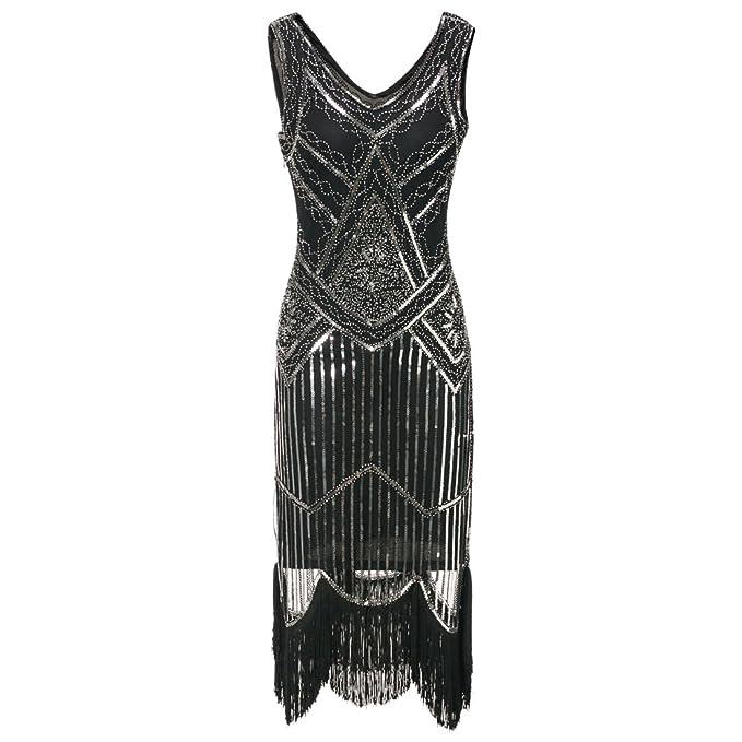 15f54d96bd77 JaosWish Abito Anni 20 Dona Vestito Gatsby con Perline Frangia per Festa in  Costume  Amazon.it  Abbigliamento