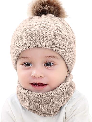 Baby Boy Girl Child Kids Winter Warm Knit Bobble Hat Beanie Cap+Snood Scarf CA